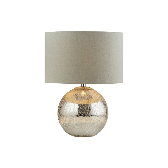 Dazzle Cracked Mirror Effect Base Grey Shade Table Lamp