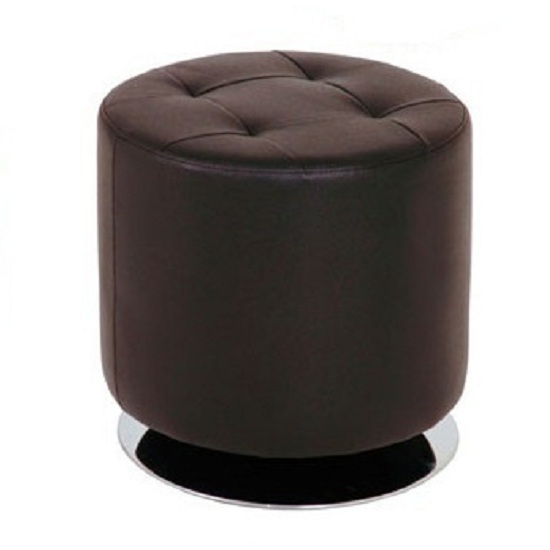 Julie Dark Brown Large Round Stool In Faux Leather