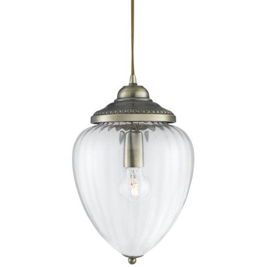 Antique Brass Rubbed Glass Pendant Lantern