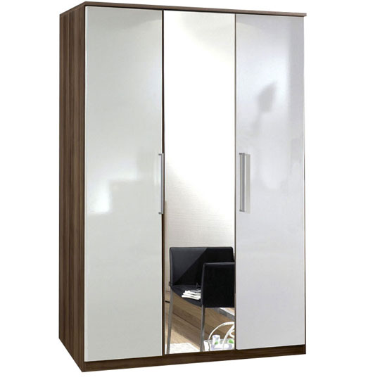 Gastineau Wardrobe In Walnut And White With 3 Door And Mirror