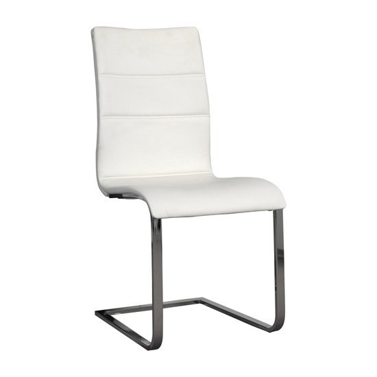 Elisa Dining Chair In White With Silver Legs