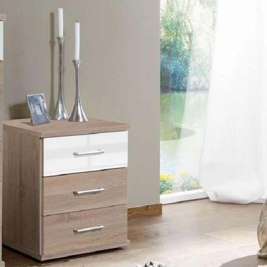 Gastineau 3 Drawer Bedside Cabinet In Oak And White Alpine Gloss