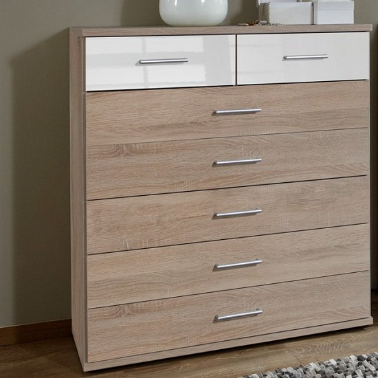 Gastineau 5+2 Chest Of Drawers In Oak And White Alpine Gloss