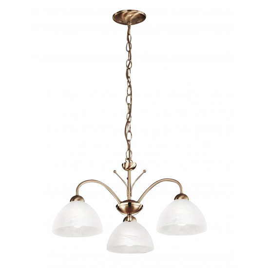 Milanese 3 Arm Antique Brass Ceiling Light