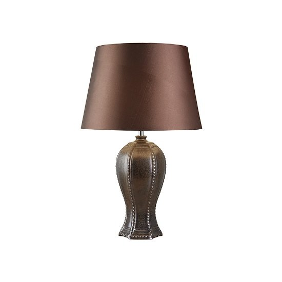 Bedford Pewter Stud Detail Base Brown Shade Table Lamp