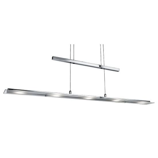 Led 5 Light Chrome Rectangle BarLight With Clear And Frosted