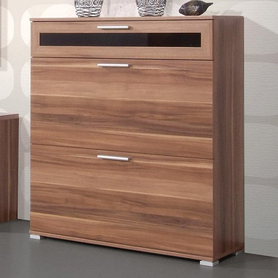 Diano Wooden Shoe Storage Cabinet In Walnut With 3 Compartment