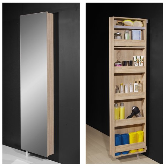 Igma Mirrored Rotating Bathroom And Shoe Storage Cabinet In Oak