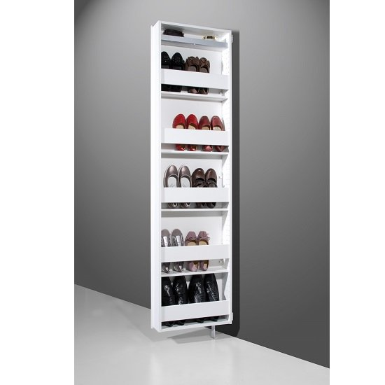 Igma Mirrored Rotating Shoe Storage Cabinet In White_5