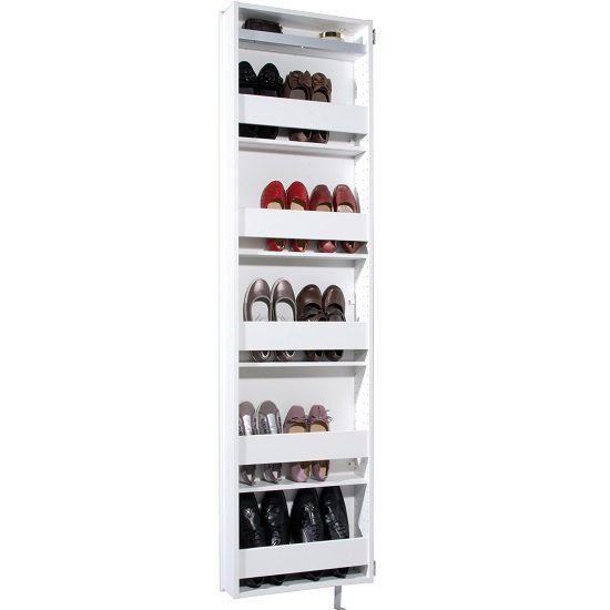 Igma Mirrored Rotating Shoe Storage Cabinet In White_3