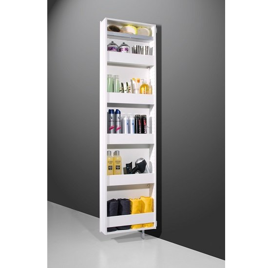 Igma Mirrored Rotating Shoe Storage Cabinet In White_4