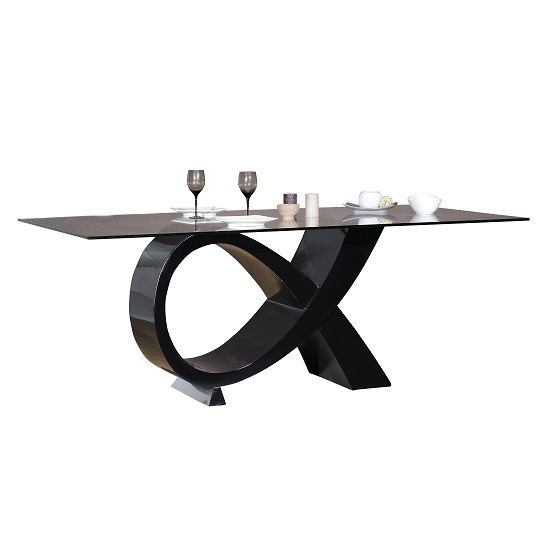 Elisa Glass Dining Table In Clear With High Gloss Black Base_3