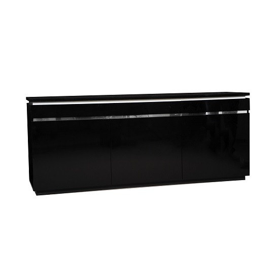 Elisa Sideboard In High Gloss Black With 3 Doors And Lighting_1