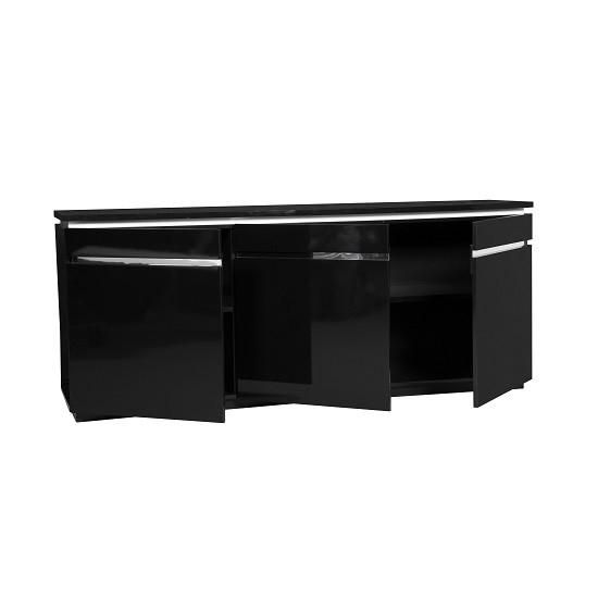 Elisa Sideboard In High Gloss Black With 3 Doors And Lighting_2