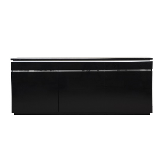 Elisa Sideboard In High Gloss Black With 3 Doors And Lighting_3