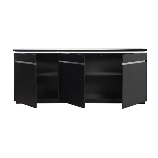 Elisa Sideboard In High Gloss Black With 3 Doors And Lighting_4