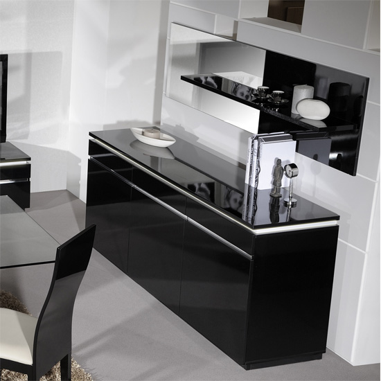 Elisa Sideboard In High Gloss Black With 3 Doors And Lighting_5