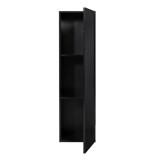 Elisa Wall Cupboard In High Gloss Black With 1 Door_4