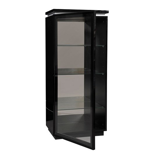 Elisa Display Cabinet In High Gloss Black With Glass Door_4