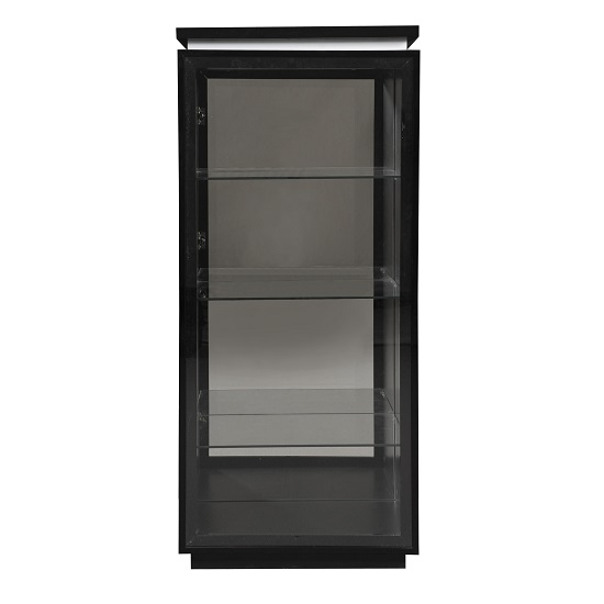 Elisa Display Cabinet In High Gloss Black With Glass Door_1
