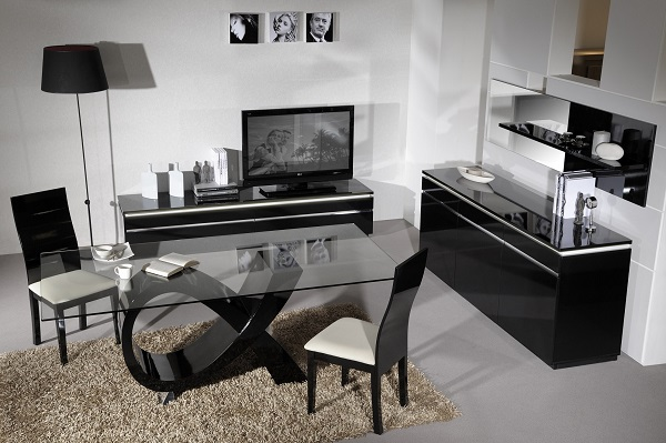 Elisa Sideboard In High Gloss Black With 3 Doors And Lighting_8