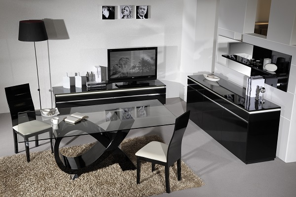 Elisa Sideboard In High Gloss Black With 3 Doors And Lighting_10