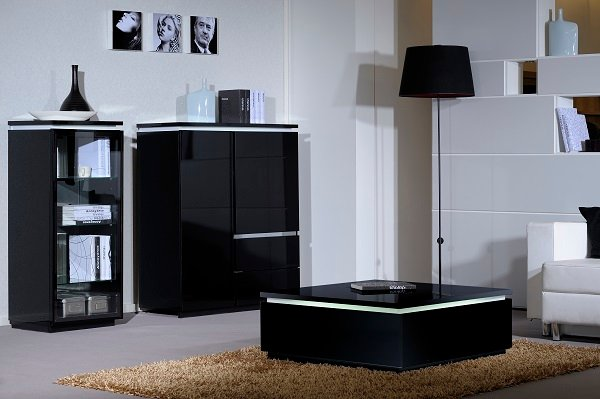 Elisa Display Cabinet In High Gloss Black With Glass Door_5