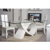 Elisa Glass Dining Table In Clear With High Gloss White Base_3