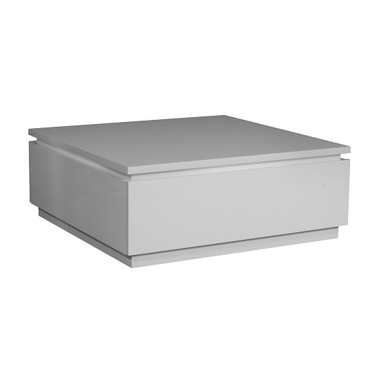White High Gloss Side End Square 2 Seats Of Coffee Table: Elisa Coffee Table Square In High Gloss White With Storage