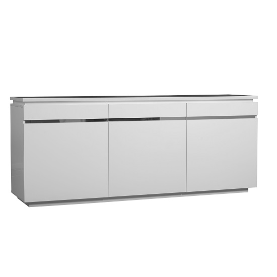 Elisa Sideboard In White High Gloss With 3 Doors And Lighting_4