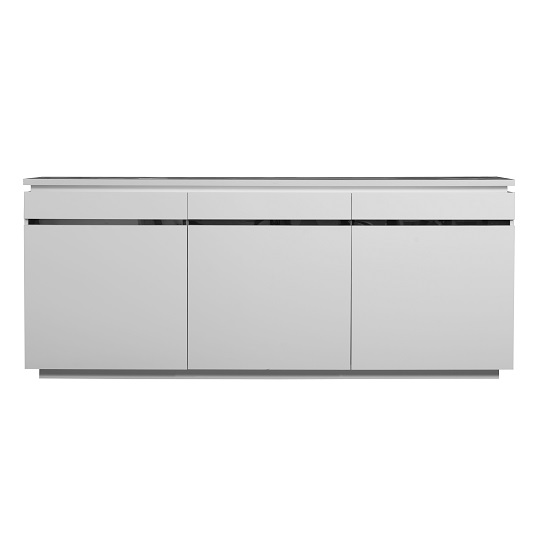 Elisa Sideboard In White High Gloss With 3 Doors And Lighting_2
