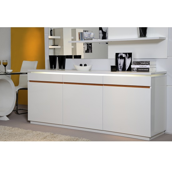 Elisa Sideboard In White High Gloss With 3 Doors And Lighting_1