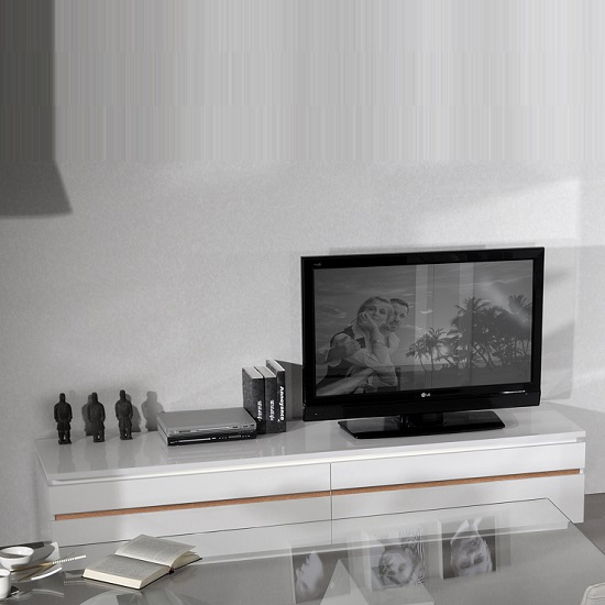 Elisa Contemporary LCD TV Stand In White Lacquer With Lights