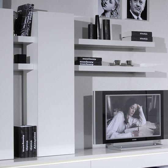 Elisa Wall Mounted Display Unit In White Lacquer With