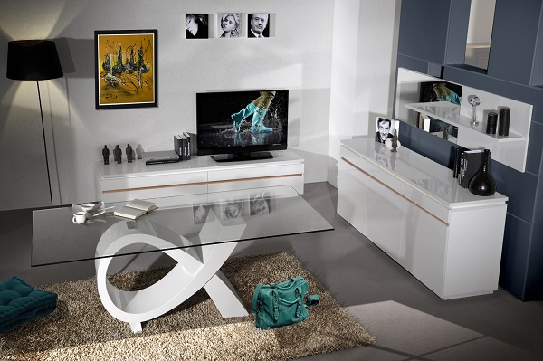 Elisa Sideboard In White High Gloss With 3 Doors And Lighting_6