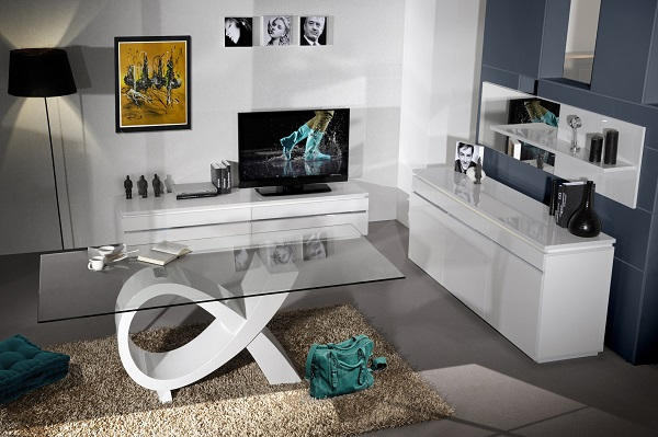 Elisa Sideboard In White High Gloss With 3 Doors And Lighting_8