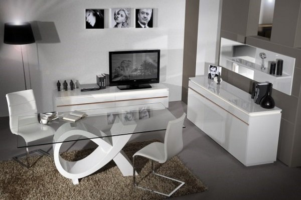 Elisa Sideboard In White High Gloss With 3 Doors And Lighting_9
