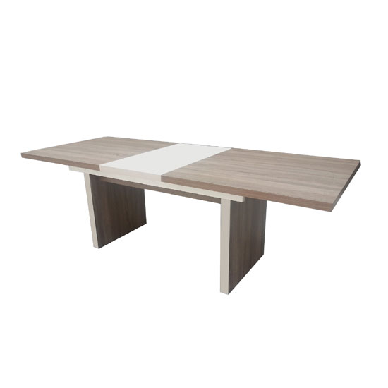 Travis Oak Effect With Steel Decor Extendable Dining Table Only