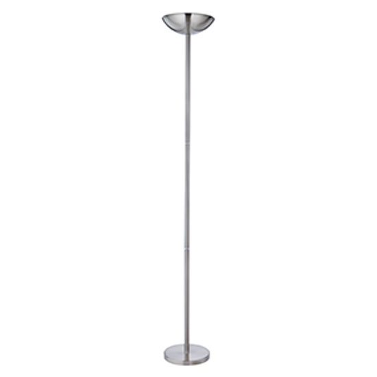 Uplighter satin silver floor lamps with sliding dimmer for Floor standing lamps with dimmer switch