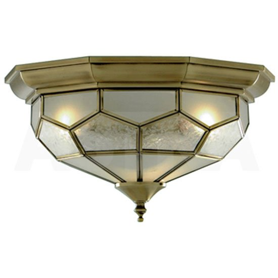 Antique Brass Flush Light With Clear Frosted And Sanded Glass