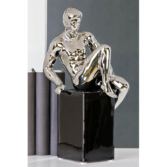 David Sculpture In Silver With Black Base