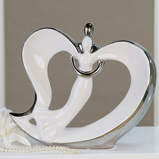 Wedding Heart Sculpture In White And Silver