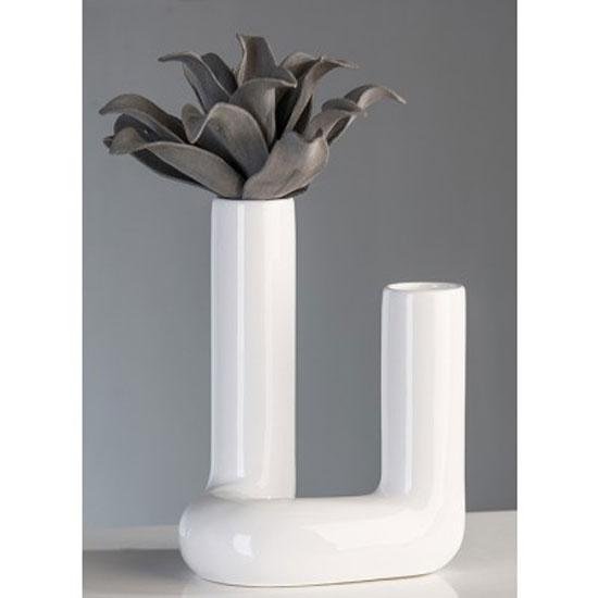 Contemporary Pipe Vase In White Ceramic 25553 Furniture In