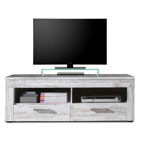 River Wooden TV Stand In Canyon White Pine With 2 Drawer