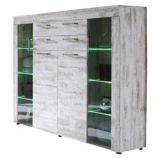 River Display Cabinet In Canyon White Pine With 4 Door And LED