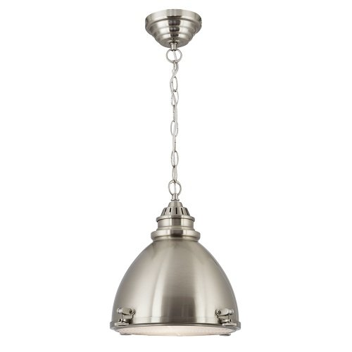 Satin Silver Dome Pendant With Frosted Glass Diffuser