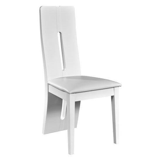 Read more about Fiesta cushioned dining chair in high gloss white