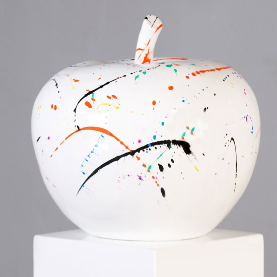Apple Sculpture In White With Coloured Blobs
