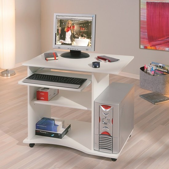 Denton Modern Computer Desk In White With Castors_1