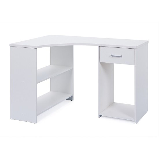 Halifax Corner Computer Desk In White With Drawer And Shelves_2